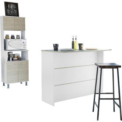 Combo cocina mueble microondas + barra de cocina blanco