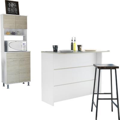 Combo cocina mueble microondas + barra de cocina - blanco