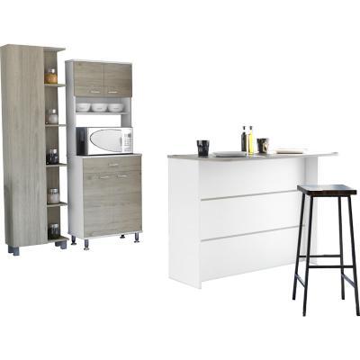 Combo cocina mueble cocina + barra de cocina+optimizador-rovere/blanco