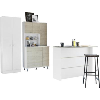 Combo cocina mueble cocina +barra de cocina+optimizador-rovere/blanco