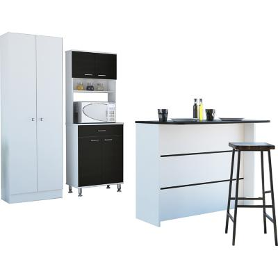 Combo cocina mueble cocina + barra de cocina + optimizador-wengue/blanco