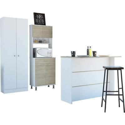 Combo cocina mueble cocina + barra de cocina + optimizador-rovere/blanco