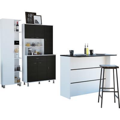 Combo cocina mueble cocina + barra de cocina+optimizador-wengue/blanco