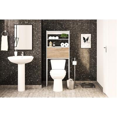 Estante baño 63x25x152 cm blanco/carvalo