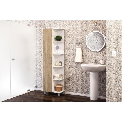 Estante baño 51,4x30,5x178 cm blanco/carvalo