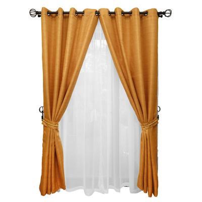 Set cortina rústica con argolla 8 piezas mostaza