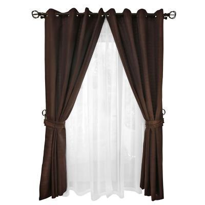 Set cortina rústica con argolla 8 piezas chocolate