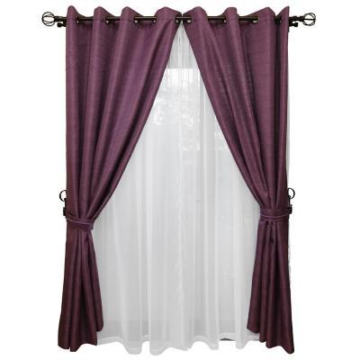 Set cortina rústica con argolla 8 piezas morado