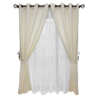 Set cortina rústica con argolla 8 piezas crudo