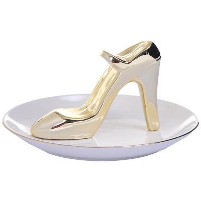 Joyero cerámico decorativo zapato Blanco/Dorado