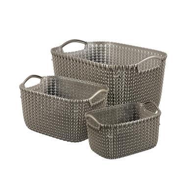 Pack 3 canastos 23x38x28 cm gris plástico