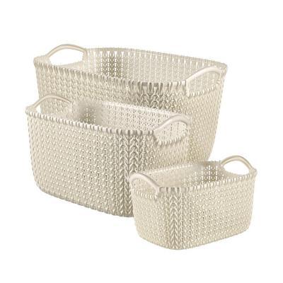 Pack 3 canasto 23,5x28,5x38,5 cm beige plástico