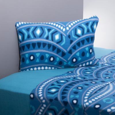 Juego sábanas polar mandala azul/celeste 1,5 plazas
