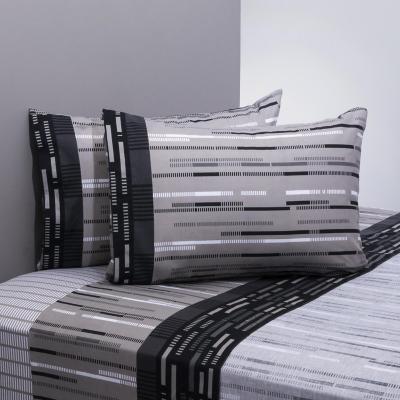Juego sábanas 144 hilos frost negro/gris 2 plazas