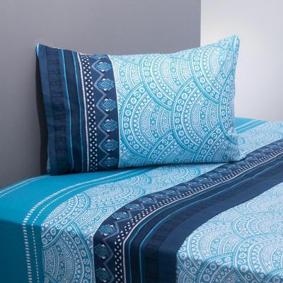 Juego sábanas 144 hilos mandala azul/celeste 1 plaza