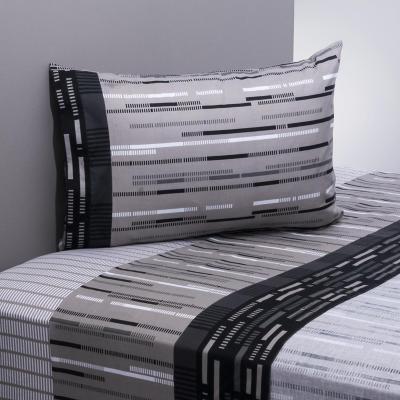 Juego sábanas 144 hilos frost negro/gris 1 plaza