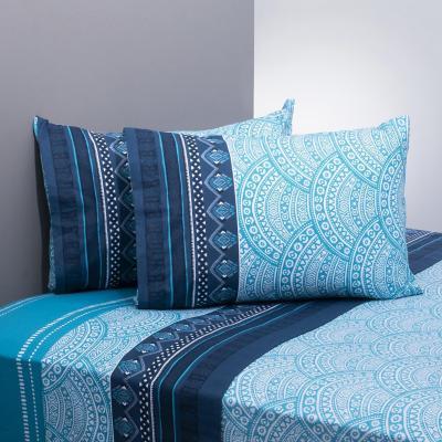 Juego sábanas 144 hilos mandala azul/celeste 2 plazas