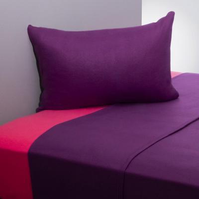 Juego sábanas polar liso morado/rosa 1,5 plazas