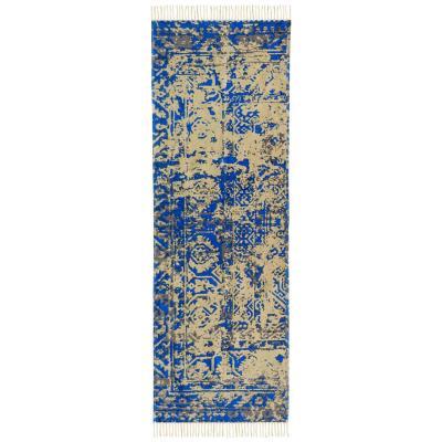 Alfombra pasillo vintage 70x230 cm azul
