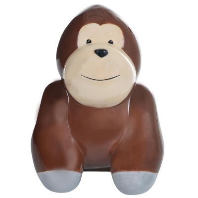 Alcancía decorativa gorila cerámica 16 cm café
