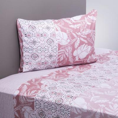 Juego sábanas 200 hilos leaves rosado/blanco 1,5 plazas