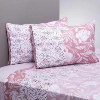 Juego sábanas 200 hilos leaves rosado/blanco 2 plazas