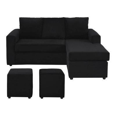 Sofá seccional + 2 pouf felpa negro