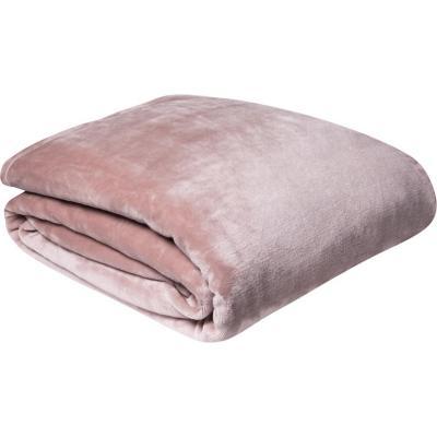 Frazada flannel 2 plazas liso rosa