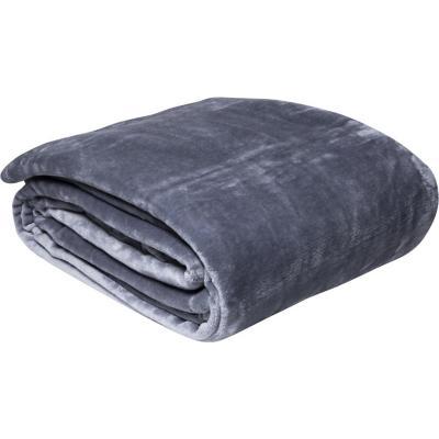 Frazada flannel 2 plazas liso stone gris oscuro