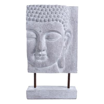 Figura decorativa budda placa poliresina 41 cm gris