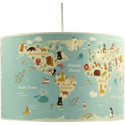 Lámpara colgante infantil 30x20 cm mapa animal