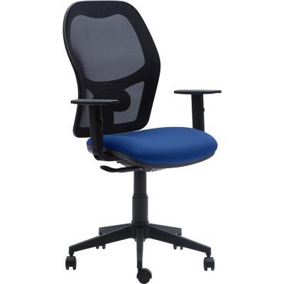 Silla PC 65x112x47 cm negra asiento azul