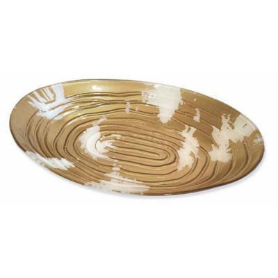 Ensaladera ovalada vidrio dorado 46 cm