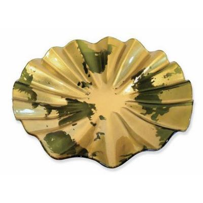Fuente vidrio redonda relieve dorado 37 cm