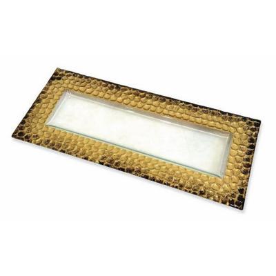 Bandeja vidrio martillada dorado