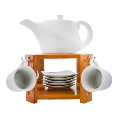 Juego 6 tazas café + platillo + tetera cerámica