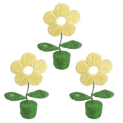 Pack 3 flores decorativas rafia y sisal 20 cm