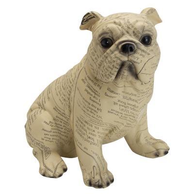 Figura decorativa perro diario resina 23 cm café