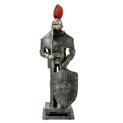 Figura decorativa armadura soldado peltre metal 45 cm gris