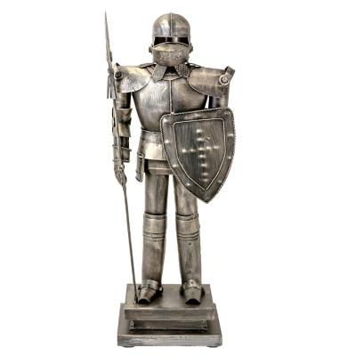 Figura decorativa armadura soldado peltre metal 49 cm gris