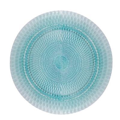 Base plato 33 cm turquesa vidrio