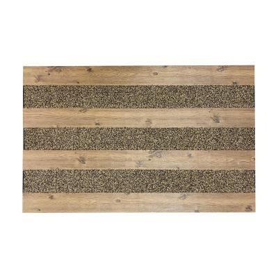 Limpiapiés rubber wood 46x76 cm café