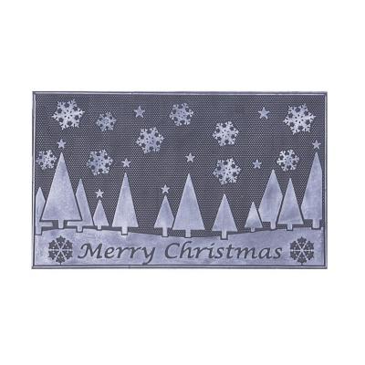 Limpiapiés rubber christmas 45x75 cm pinos