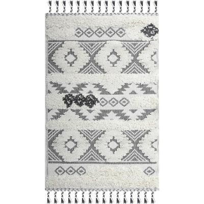 Alfombra shaggy Marrakesh rombos 160x230 blanco/negro