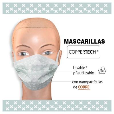 Set 2 mascarillas re utilizables nano cobre