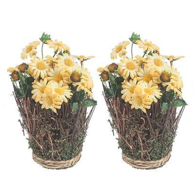 Pack 2 canastos flores margarita amarillo