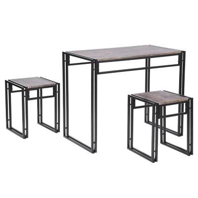 Juego mesa de comedor compacto 3 piezas