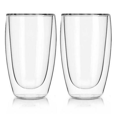 Set 2 vasos alto vidrio templado doble pared 410ml