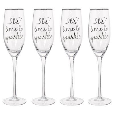 Juego 4 copas champaña sparkle
