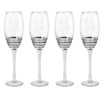 Juego copas espiral acero champaña 4 piezas